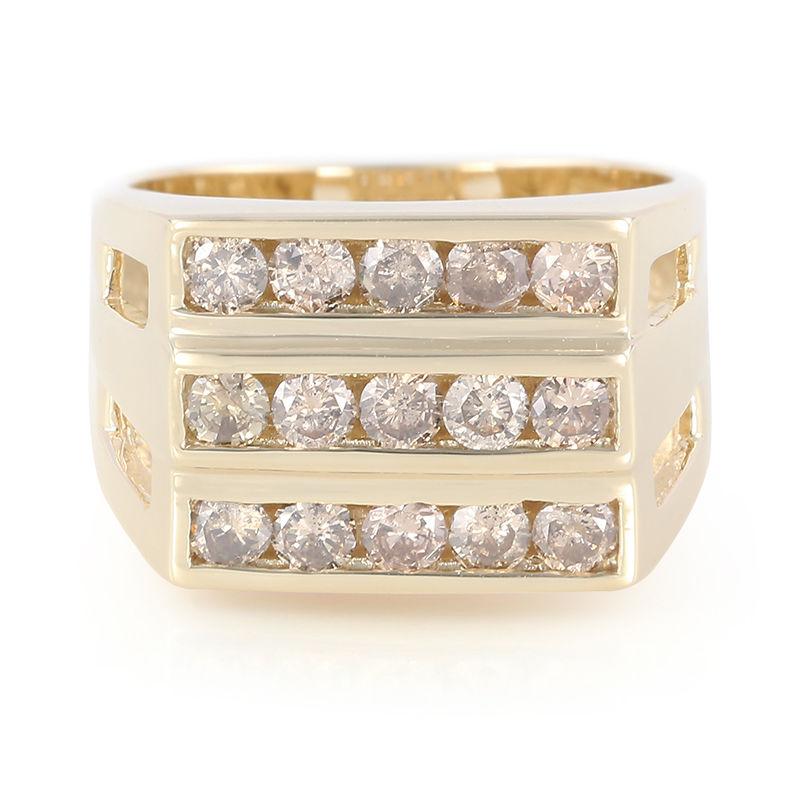 allacciarsi dentro alta qualità scarpe originali Anello da uomo in oro con Diamante Champagne