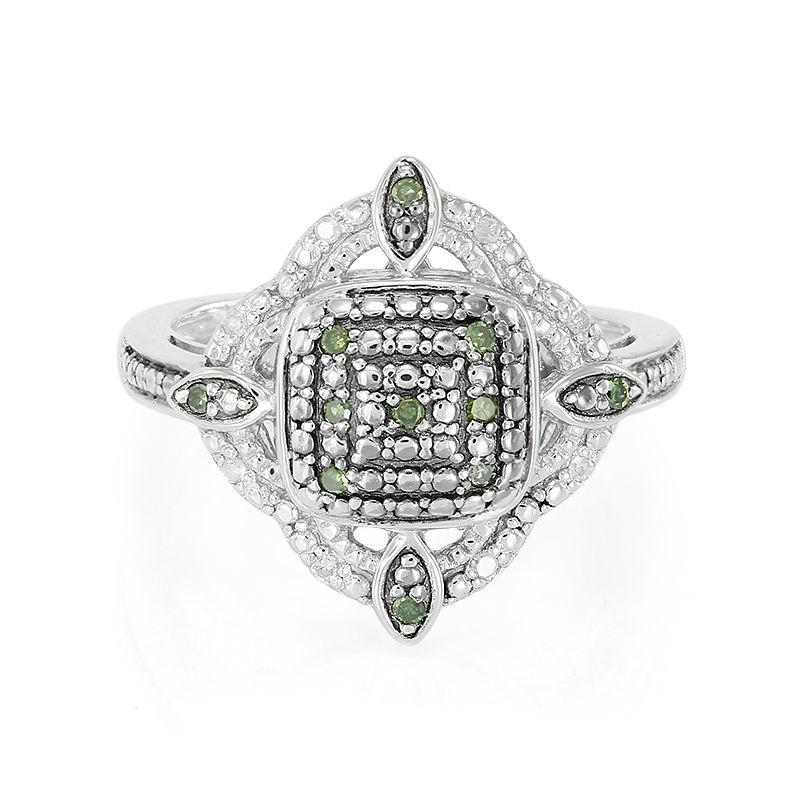 vente officielle expédition gratuite couleur n brillante Anello in argento con Diamante Verde-8404HH | Gioielli Juwelo