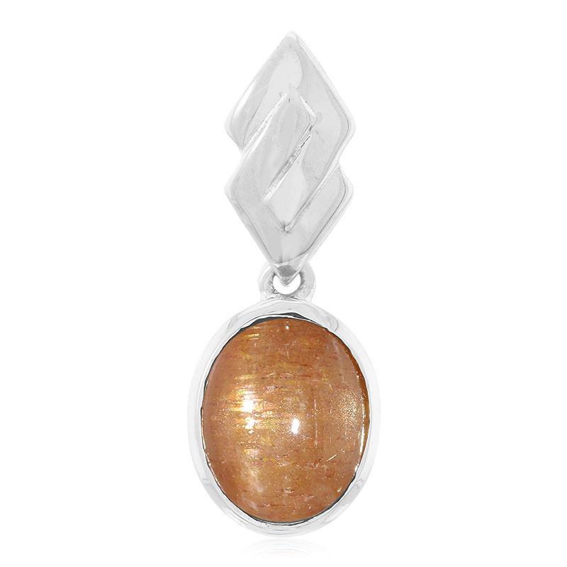 Ciondolo in argento con Pietra di Sole Stellata della Tanzania ...