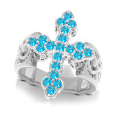 Anello in argento con Apatite Blu Neon (Dallas Prince Designs)