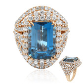 Anello in oro con Topazio Blu Londra (Dallas Prince Designs)