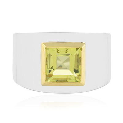 Anello in argento con Quarzo Limone (MONOSONO COLLECTION)