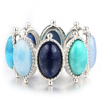 Anello in argento con Turchese Kingman Blu Mohave (Dallas Prince Designs)