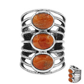 Anello in argento con Turchese Kingman Arancio Mohave