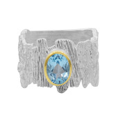 Anello in argento con Topazio Blu Svizzero (MONOSONO COLLECTION)