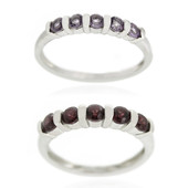 Set anelli in argento con Ametista Rose de France & Rodolite