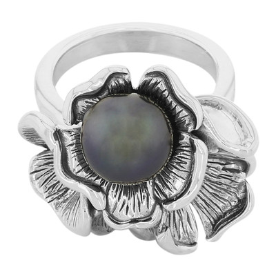 Anello in argento con Perla Tahitiana (MONOSONO COLLECTION)