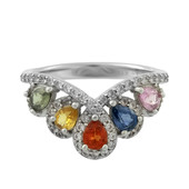 Anello in argento con Zaffiro Fancy