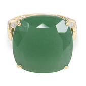 Anello in oro con Calcedonio Verde