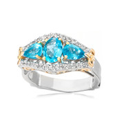 Anello in argento con Apatite Paraiba (Dallas Prince Designs)