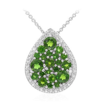 Collana in argento con Diopside Russo