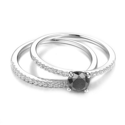 Set anelli in argento con Diamante Nero & Zircone