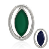 Ciondolo in argento con Calcedonio Verde (MONOSONO COLLECTION)