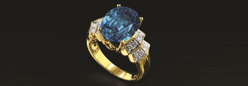 Un meraviglioso anello in oro giallo con Zircone Ratanakiri