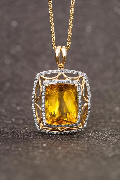 ciondolo in oro con citrino juwelo