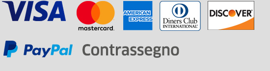 PayPal, Visa, MasterCard, Diners Club Internatinal, Discover, American Express, PayPal, Contrassegno